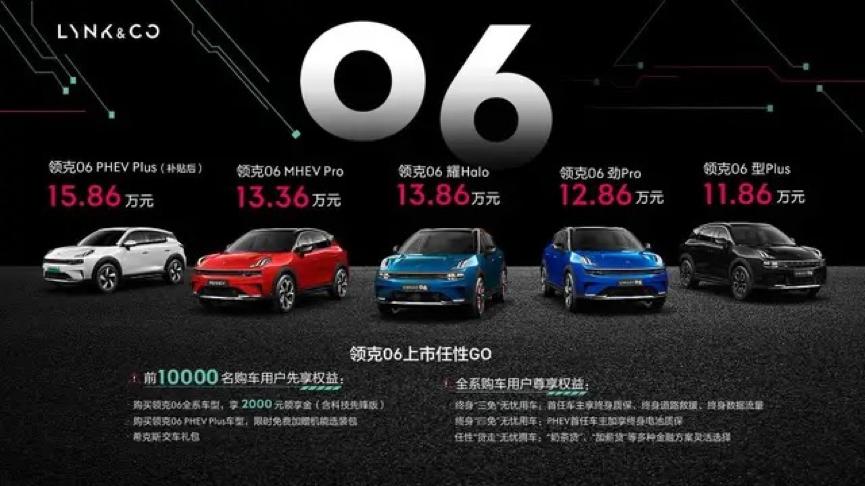 领克06正式上市,5款车型起售价11.86万元起